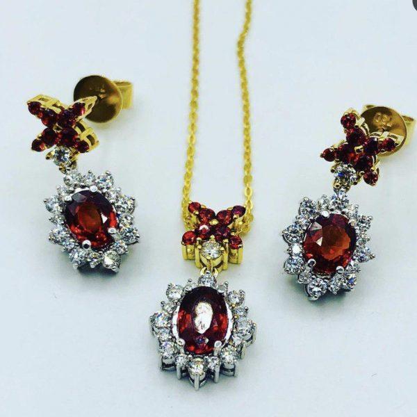 نیم ست جواهر یاقوت قرمز