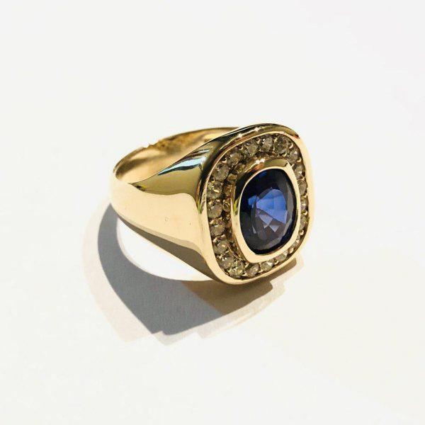 انگشتر جواهر یاقوت کبود مردانه