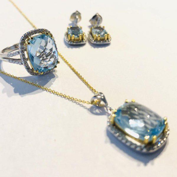 ست کامل جواهر توپاز آبی