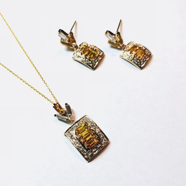 نیم ست جواهر یاقوت فنسی کالر