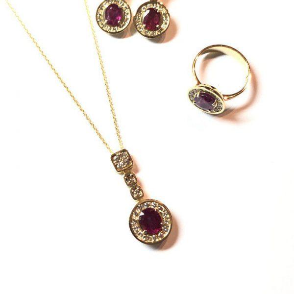ست کامل جواهر یاقوت قرمز