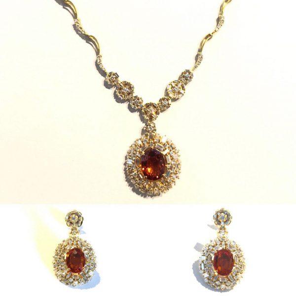 گردنبند و گوشواره جواهر یاقوت قرمز