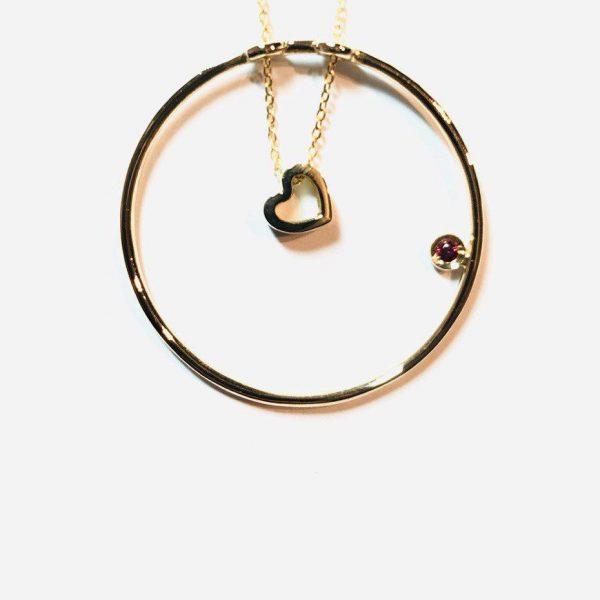 گردنبند طلا دایره و قلب