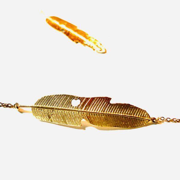 گردنبند و دستبند طلا طرح پَر