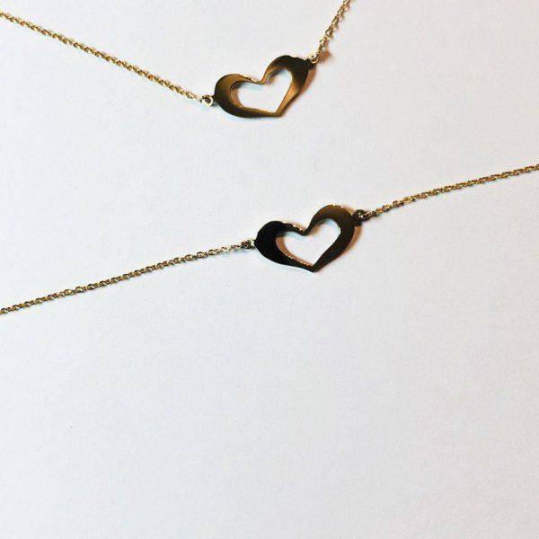 گردنبند و دستبند طلا طرح قلب