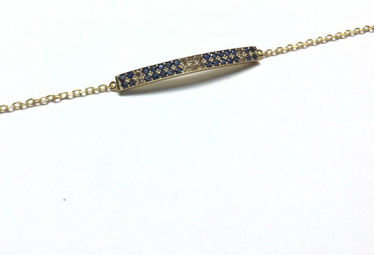 دستبند ظریف طلا و یاقوت کبود